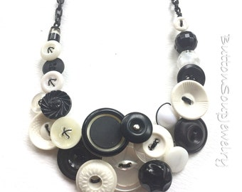 Black and White Retro Statement Necklace Vintage Button Jewelry