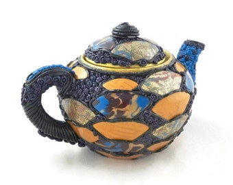 Collectible Teapot Asian Inspired Polymer over Ceramic Decorative Art Home Decor