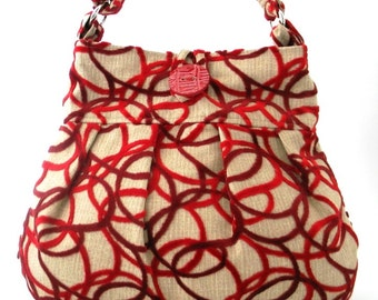 hobo shoulder bag, large hobo bag, red hobo bag, red purse, over the shoulder bag for women, red crossbody bag,  large handbag