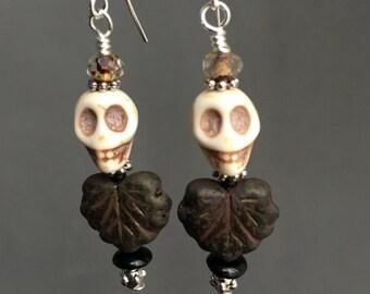 Small Skull Maple Leaf Earrings