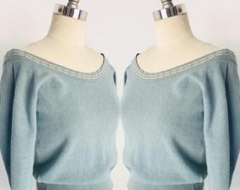 Vintage 1950's Off Shoulder Cropped 3/4 Sweater Knit l M