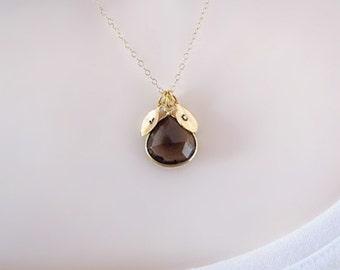 Gold Initial Necklace, Two Initial Necklace, Personalized Jewelry, Gemstone Dainty Necklace, Delicate Necklace, Smokey Quartz, Custom