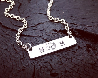 Soccer Mom Bar Necklace | Soccer Mom Jewelry | Jewelry Gift For Soccer Mom | Sports Mom Jewelry Gift | Sports Mom Necklace | Soccer Ball