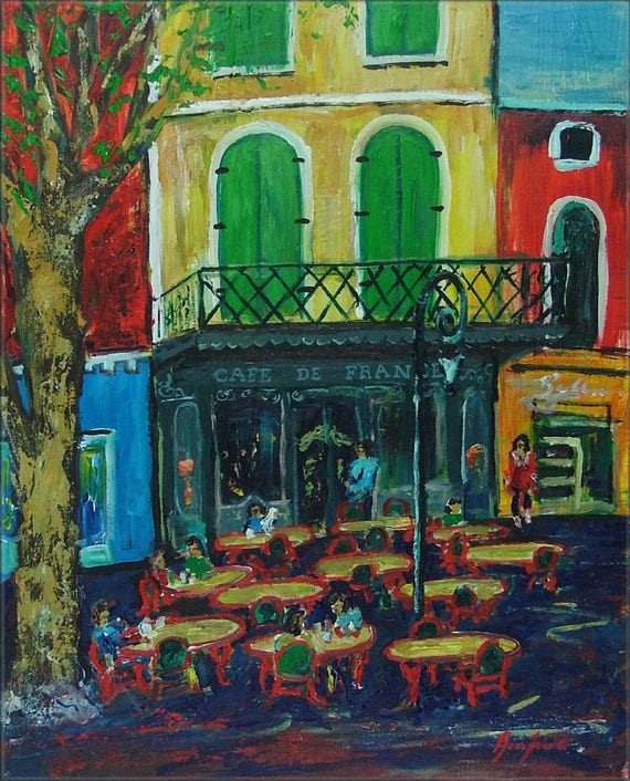 Cafe De Flore - France - Fine Art Print Giclee from Original Oil Painting by BenWill