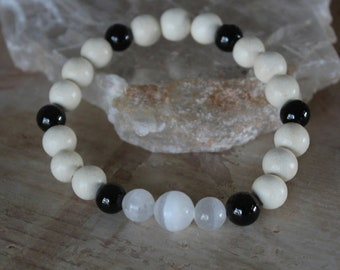 Black Tourmaline, Selenite Gemstones & White Wood Stretch Bracelet, Black Tourmaline Protection, High Vibration, Intuition