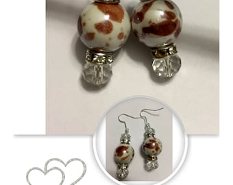 Ceramics and Crystal Earrings - Czech Crystal - Crystal Rondells