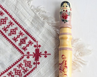 Huge pink pencil_vintage wooden pencil_pink lead_25 cm/9.8'' long_Russian folk souvenir_traditional toy_hand painted gift_coloring pencil