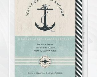 We've Dropped Anchor Moving Announcement - Address Change - Nautical Moving Announcement - Housewarming Invitation - We've Set Sail