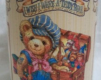 """Adorable """"I Wish I Were A Teddy Bear"""" Collectible Tin Canister"""