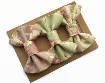Hair Bows, Set of 3, Vintage Style, Hair Clips Women, Hair Bows for Teens
