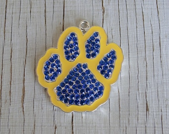 Blue yellow pawprint Rhinestone pendant for chunky necklace jewelry chunky gumball necklace wholesale supplies bubblegum pawprint charm