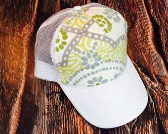 Cute olive floral design women's trucker hat, verify your size in description