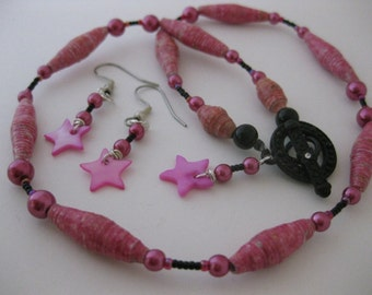 Mother-of-Pearl PINK STAR Earrings w/Matching Paper Bead & Pink Pearl Necklace, 2pc Jewelry Set w/Hand-Rolled Paper Beads, Black Metal Clasp