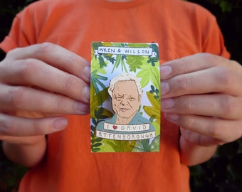 Sir David Attenborough Hand Painted Pin Badge! Cool Nature Brooch, laser cut. 10% of sales go to saving rainforests!