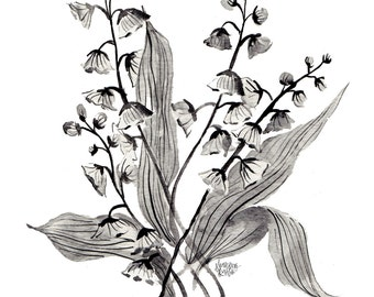 Greyscale Botanicals 02  - Floral Prints  - 8 x 10  - Illustration - Art Print