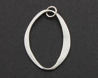 Sterling Silver Large Abstract Charm / Pendant with Jump Ring, Spiritual Jewelry Component, (SS/CH2/CR47)