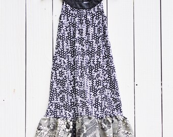 Upcycled Boho Day Dress with Black and White Vintage Print/Sustainable Fashion/Halter Dress