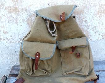 Vintage Antique 1930 French khaki canvas backpack