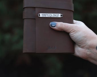 Personalized Brown Leather Journal - Travel Journal - Writing Notebook - Handmade Book - Leather Journal - Diary - Monogram Sketchbook