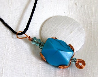 """Turquoise Pendant Necklace ~ Copper Wire Wrapped Acrylic Turquoise Bead ~ Corded Necklace 16"""" inches long"""