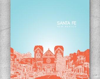 Santa Fe New Mexico Skyline Art Poster / Home, Office, Nursery Art Poster / Any City or Landmark