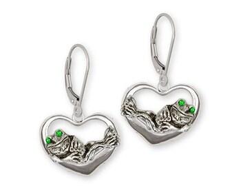 Frog Earrings Jewelry Sterling Silver Handmade Frog Earrings FG17-XE