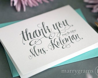 Custom Wedding Bridal Shower Thank You Cards - Wedding Shower - Thank You From the Future Mrs. Thank You Notes - Pink, Purple (25ct) CS12