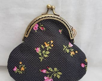 Black Polka Dot and Floral Kiss Clasp Coin/Change Purse/snap frame