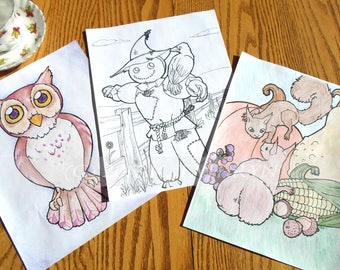 Fall Coloring Book / Autumn Coloring Book / 3 Coloring Pages
