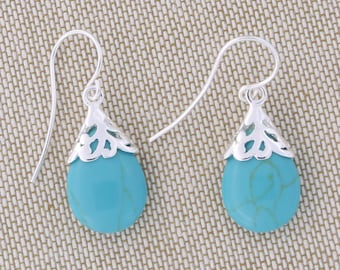 Solid Sterling Silver Simulated Turquoise Teardrop Dangle Earrings - for women, for girls earrings