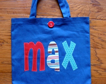 Personalized  Easter Tote (with button closure) boys birthday party gift idea tote bag preschool tote kindergarten book bag