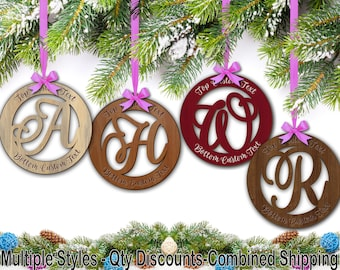 Hardwood Monogram Script Personalized Holiday Ornament