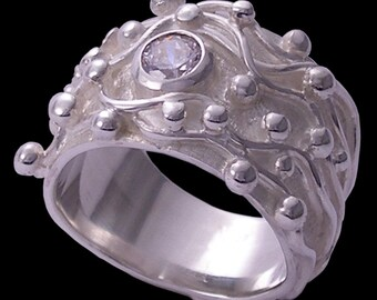 Swarovski cubic zirconia and sterlium sterling silver, hand made 'gem joy' ring by Rubyblue Jewelry