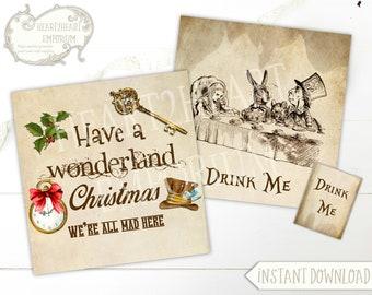 Alice in Wonderland Tea Bag Envelope, Collage Sheet, Christmas, Printable, Tea Party, Download, DIY, Tea Holder, Teabag Envelope, Gifts