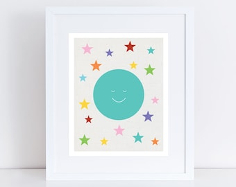 moon and stars art print - moon print - moon art, moon and stars artwork, gender neutral baby room, turquoise children art, rainbow nursery