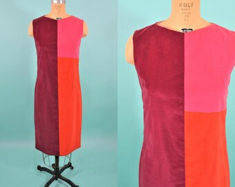 1960s mod dress | bright colorblock velour mod shift dress | vintage 60s dress | W 34""