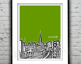 Queens New York Skyline Art Print Poster Train View NY NYC