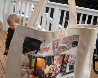 """Photo Tote Bag -  8 in x 10.5 in Photo Collage Panel with up to 8 blended photos printed on a """"Printed Treasures"""" Fabric Panel"""