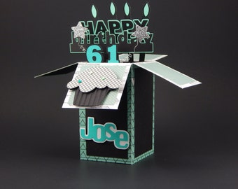 Happy Birthday card in a box, Custom birthday card, Happy Birthday Card