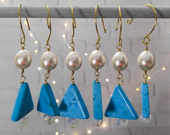 Turquoise and Pearl Christmas Holiday Winter Ornaments, set of 6