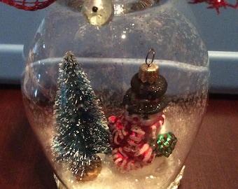 Wine Glass Snowman Votive Holder