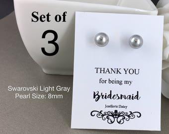 Set of 3 Bridesmaid Earrings Stud Earrings Bridesmaid Flower Gir Junior Bridesmaid Sterling Silver Earrings Mother of Groom Mother of Bride