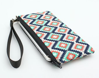 Tribal iPhone Wristlet, Aztec Smartphone Purse, Padded Phone Wristlet Purse, Small Zip Wristlet Pouch - coral navy aztec tribal southwestern