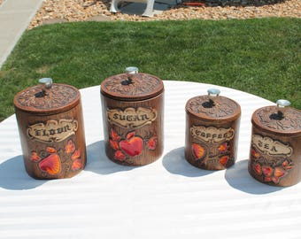 Set of Four Vintage Canisters Faux Wood Ceramic with Yellow, Orange and Red Fruit and Leaves - Flour - Sugar - Coffee and Tea Canisters