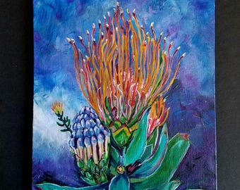 Pincushion Protea Flower Painting- 9 x 12 Acrylic Painting - Original one of a Kind Artwork by Leasa