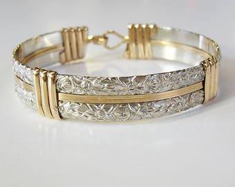 Two Tone Bracelet - Silver and Gold Bracelet - Wirewrapped Bracelet - Pattern Wire Bracelet - Heavy Wire Bracelet - Two Tone Bangle
