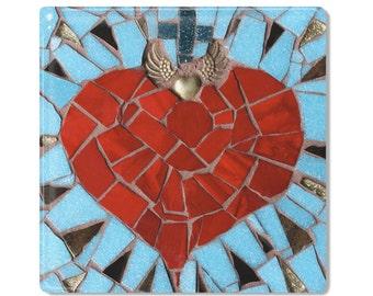 Mexican Folk Art - Ceramic Tile / Coaster - Blue Sacred Heart - Valentine's Day