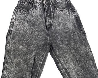 Acid Wash Skinnies   ultimate vintage ultra high waist black gray faded acid washed denim jeans skinny tapered leg 90s 26 waist smalL S nice