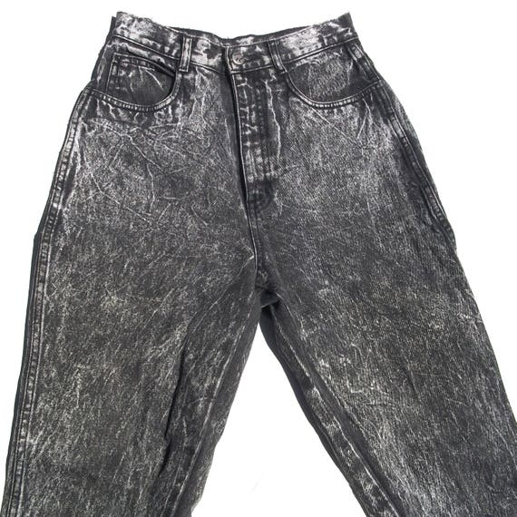 Acid Wash Skinnies | ultimate vintage ultra high waist black gray faded acid washed denim jeans skinny tapered leg 90s 26 waist smalL S nice