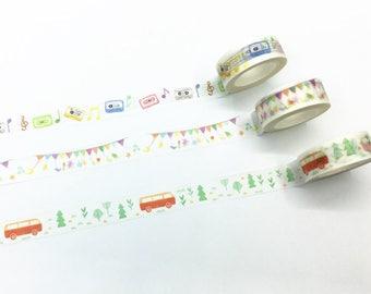 Music/Bunting/Bus Washi Tape